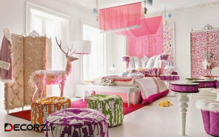 تزیین اتاق خواب عروس با تورهای رنگی