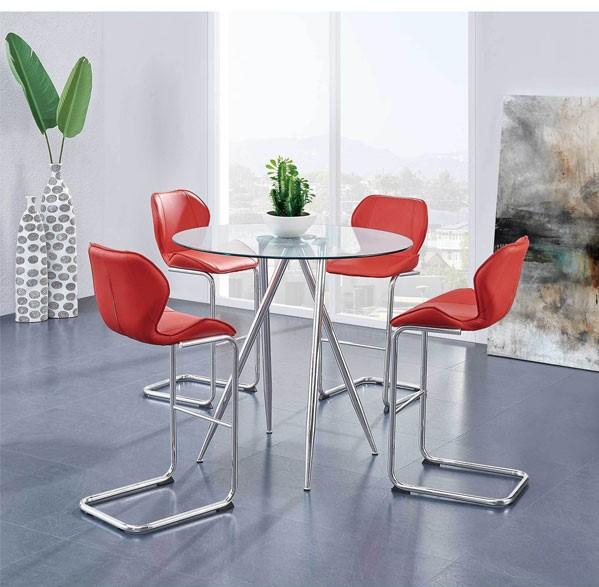 میز ناهارخوری کم جا و تاشو با صندلیهای چرمی قرمز
