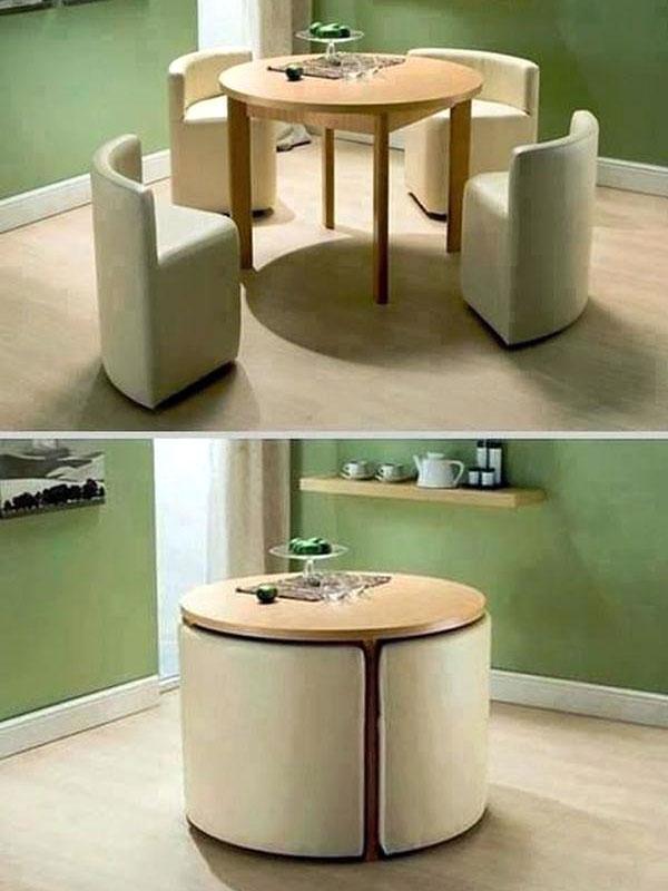 میز ناهارخوری کم جا و تاشو با صندلیهای پازلی