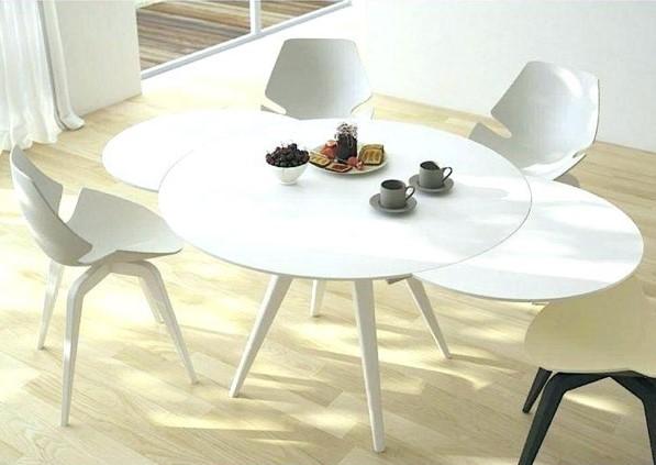 میز ناهارخوری کم جا و تاشو دایرهای سفید