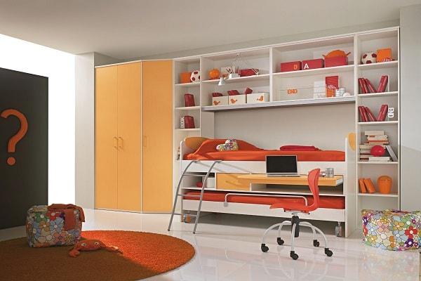 کمد دیواری اتاق نوجوان پسر با تم نارنجی