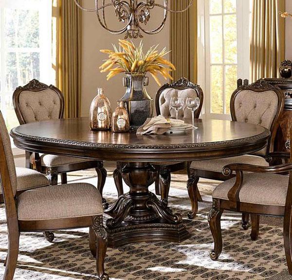 میز ناهارخوری کلاسیک گرد تک پایه
