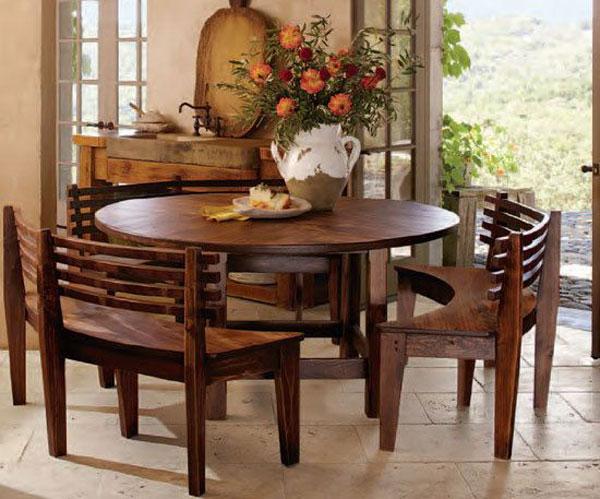 مدل میز ناهارخوری گرد کم جا با طراحی ساده و شیک