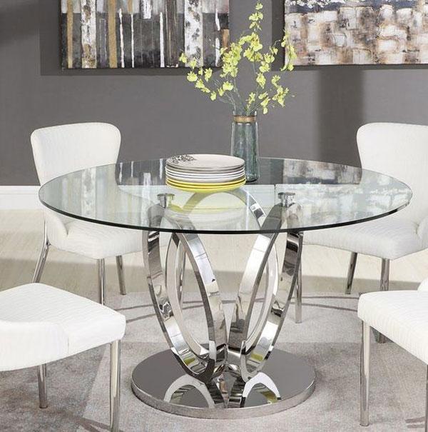 مدل میز ناهارخوری شیشه ای گرد ساده با پایه فلزی