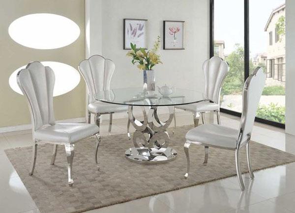 مدل میز ناهارخوری کوچک شیشه ای با پایه فلزی