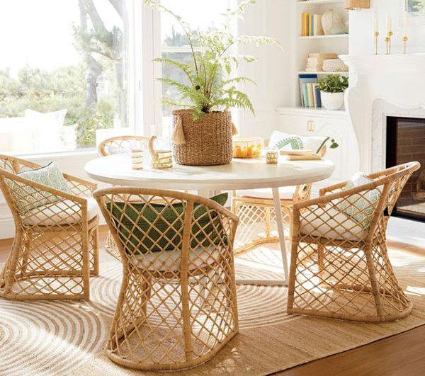میز ناهارخوری گرد چوبی