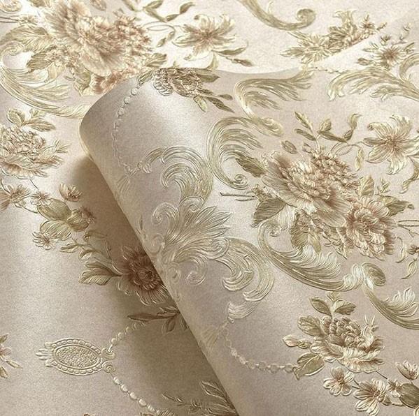 کاغذ دیواری برجسته ابریشم با طرح گل