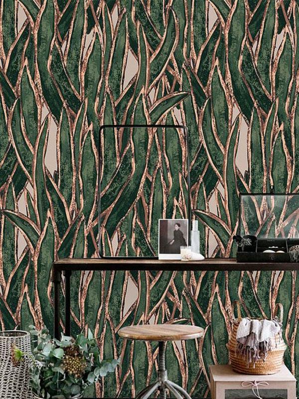 کاغذ دیواری برجسته طلایی و سبز