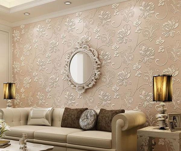کاغذ دیواری گل برجسته اتاق پذیرایی