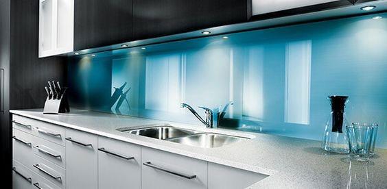 مدل شیشه بین کابینتی آبی