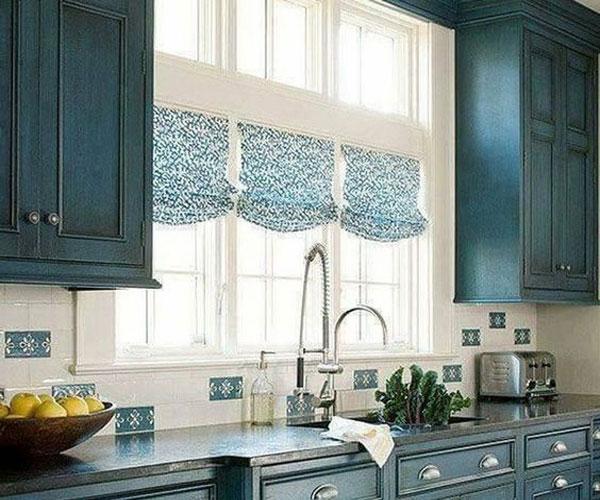 مدل پرده پنجره  شید آبی