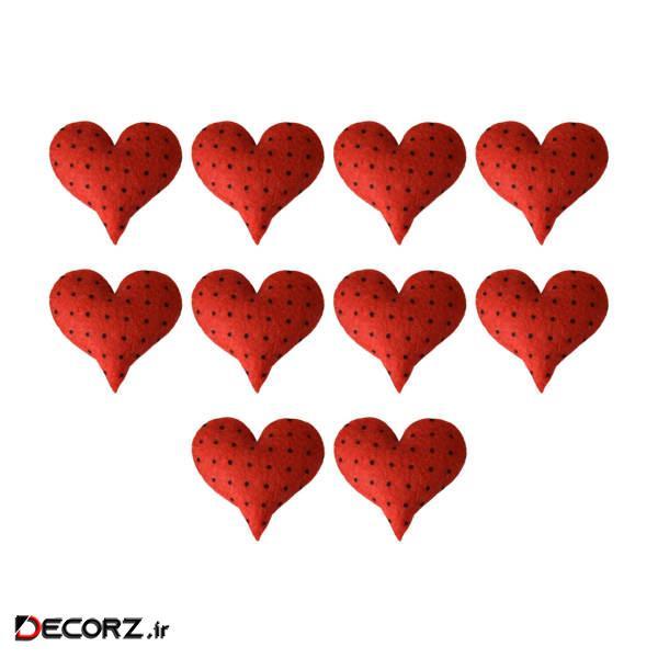 ابزار تزیینی کادو طرح قلب خالدار مدل 1125-H بسته 10عددی