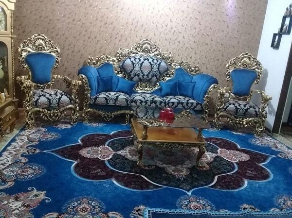 مدل مبل سلطنتی آبی رنگ و طرح دار