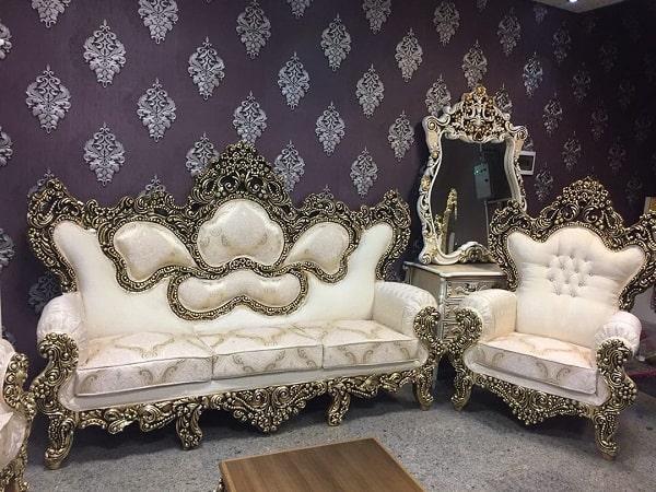 مدل مبل سلطنتی شیک و جدید سفید