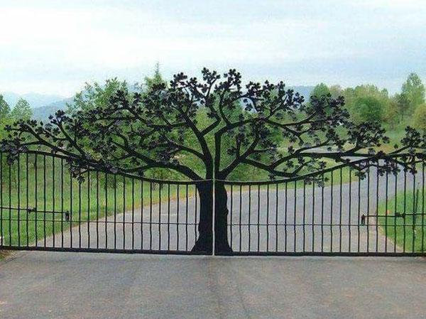 نمونه درب باغ با طرح درختی