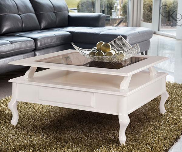 مدل میز جلو مبلی  سفید رنگ سبک کلاسیک