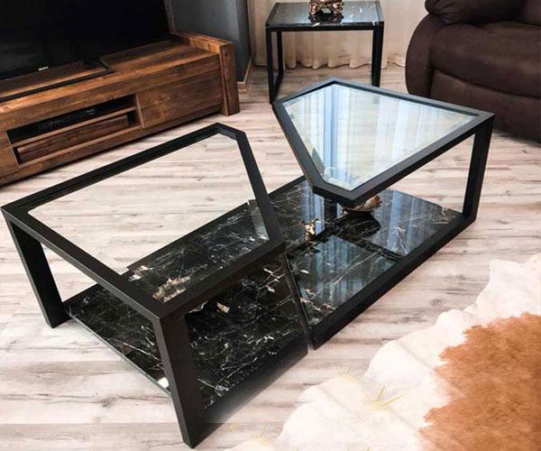 مدل میز جلو مبلی  استیل و شیشه