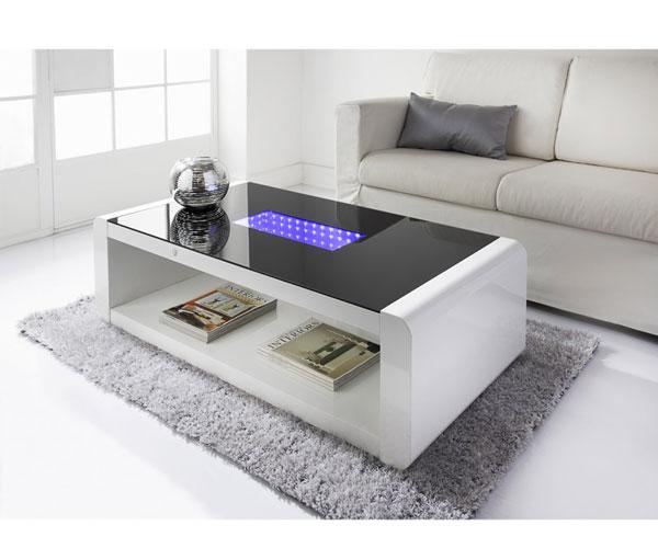 مدل میز جلو مبلی مدرن سفید با نورپردازی داخلی