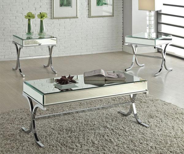 مدل میز جلو مبلی  مدرن استیل با رویهی شیشه آینهای