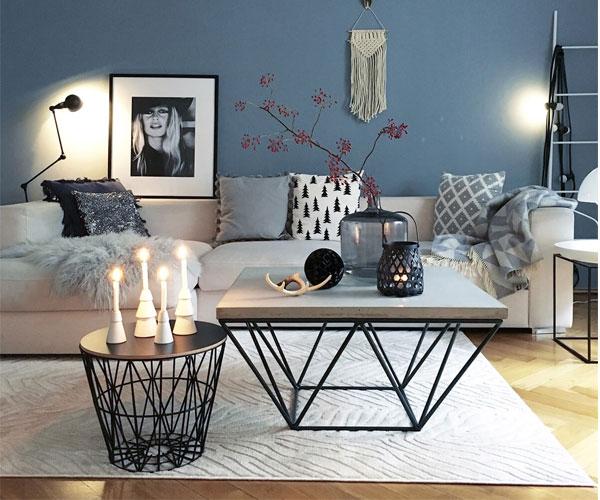 مدل میز جلو مبلی  مدرن با پایههای استیل و رویهی سنگ