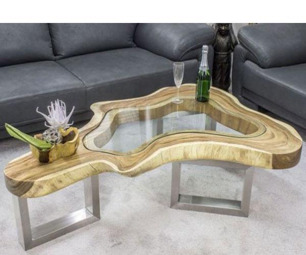 مدل میز جلو مبلی سبک چوب و شیشه