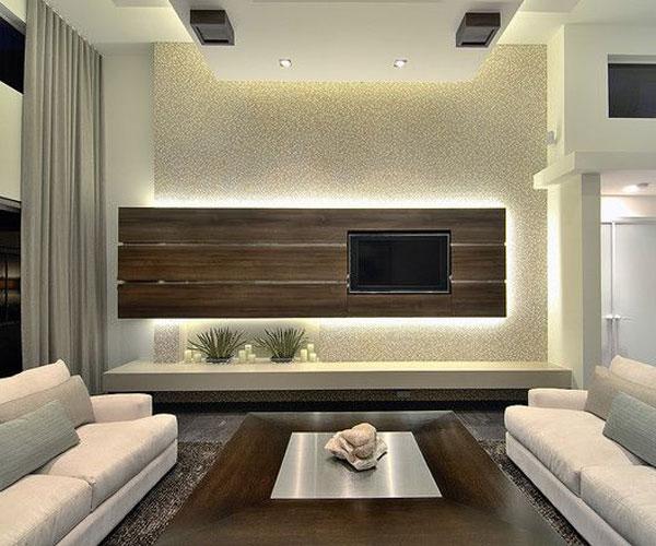 دکوربندی چوب ام دی اف برای تزیین دیوار پشت تلویزیون
