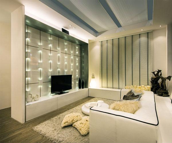 با استفاده از نورپردازیهای شیک تزیین دیوار پشت تلویزیون