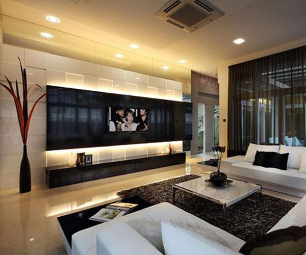 تزیین دیوار پشت تلویزیون برای دکوراسیون داخلی سفید و مشکی
