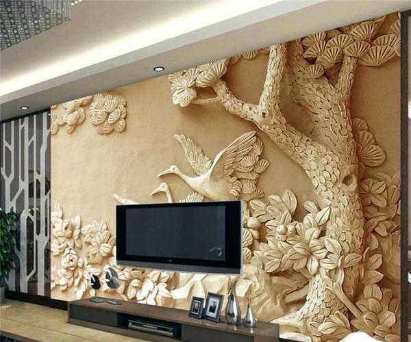 طرح جدید کاغذدیواری سهبعدی برای تزیین دیوار پشت تلویزیون