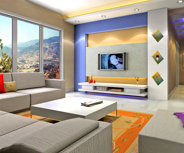 استفاده از رنگهای شاد در تزیین دیوار پشت تلویزیون