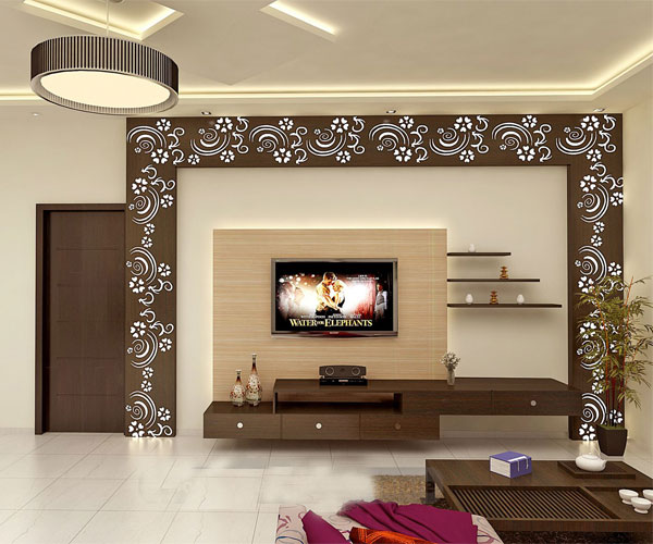 برچسبهای طرح گل برای تزیین دیوار پشت تلویزیون