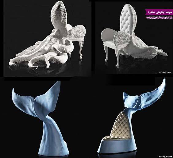 عکس طراحی خلاقانه مبل شبیه ماهی و هشت پا