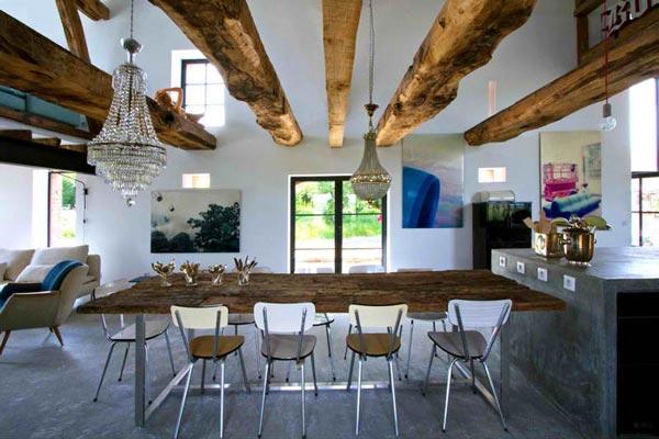 ترکیب فضای داخلی با فضای بیرون در سبک معماری روستیک