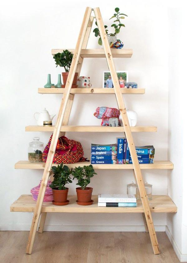 ساخت قفسه اشیا تزئینی با نردبان چوبی