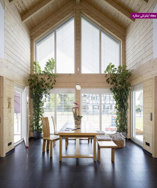 اتاق غذاخوری، گیاهان ساختمانی، سقف چوبی