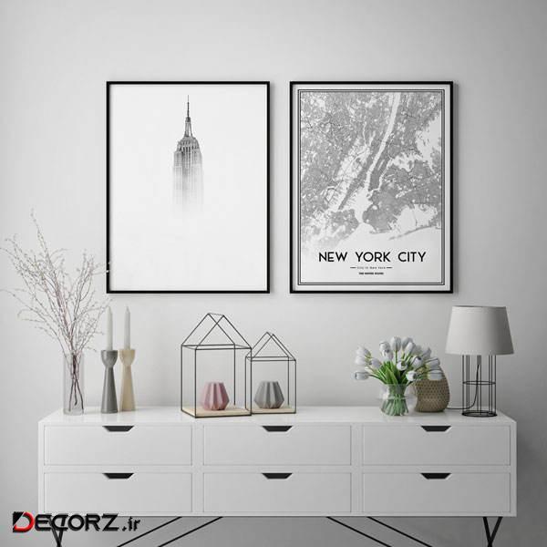 تابلو سالی وود طرح ساختمان امپایر استیت نیویورک کد T111225 مجموعه 2 عددی