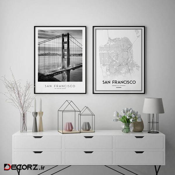 تابلو سالی وود طرح نقشه سانفرانسیسکو و پل گلدن گیت کد T111216 مجموعه 2 عددی