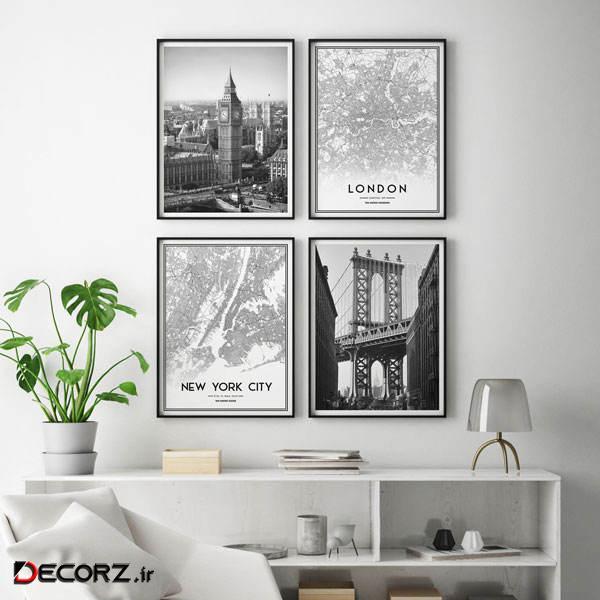 تابلو سالی وود طرح نقشه و مناظر شهری لندن و نیویورک کد T111219 مجموعه 4 عددی