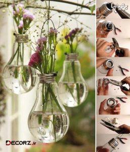 ساخت گلدان های آویز با وسایل دور ریختنی