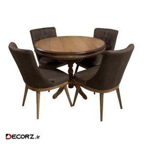 میز و صندلی ناهار خوری اسپرسان چوب کد Sm68