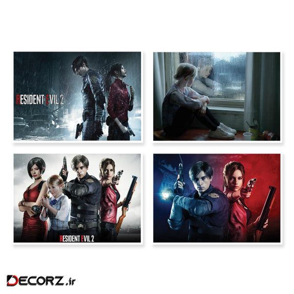 پوستر طرح Resident Evil 2  کد A-1638 مجموعه 4 عددی