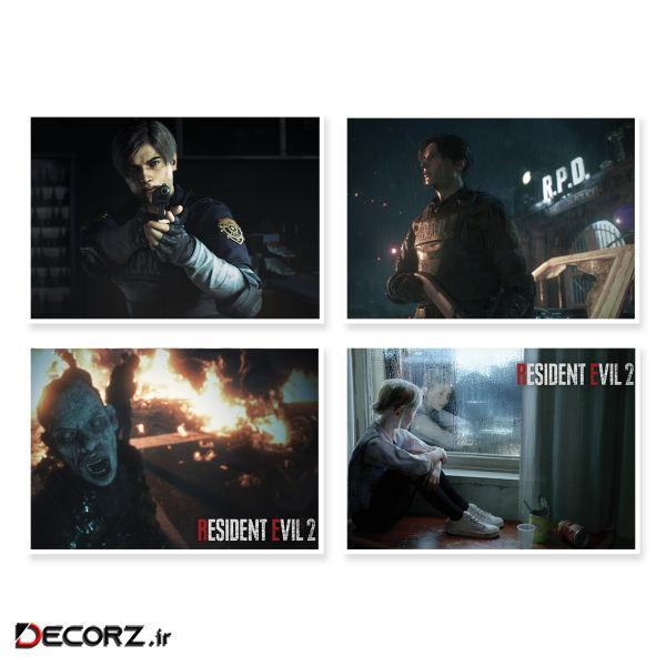 پوستر طرح Resident Evil 2 کد A-1640 مجموعه 4 عددی