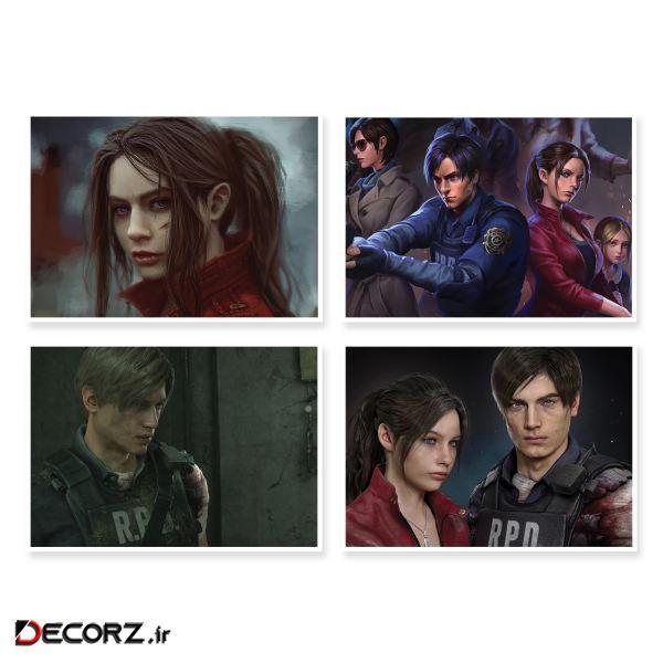 پوستر طرح Resident Evil 2 کد A-1643 مجموعه 4 عددی