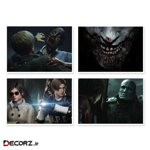 پوستر طرح Resident Evil 2 کد A-1644 مجموعه 4 عددی