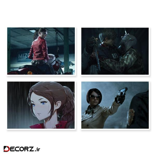 پوستر طرح Resident Evil 2 کد A-1647 مجموعه 4 عددی
