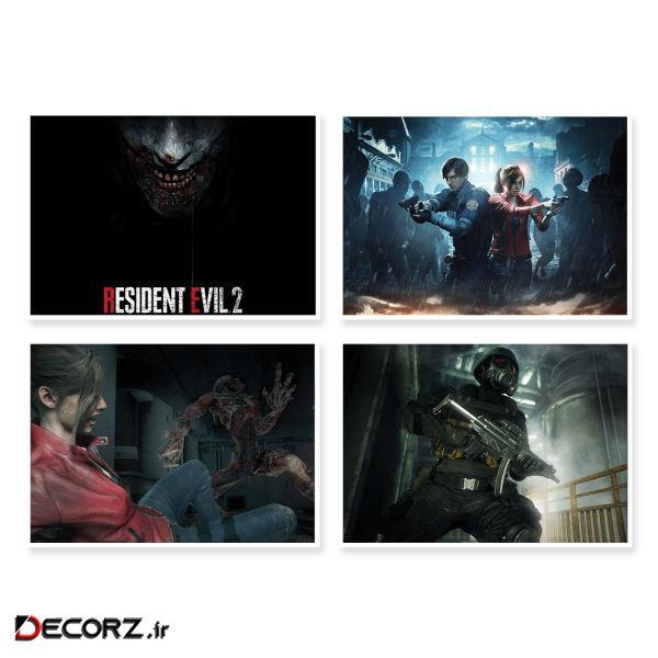پوستر طرح Resident Evil 2 کد A-1649 مجموعه 4 عددی