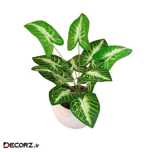 گلدان به همراه گل مصنوعی طرح برگ کد JXB773