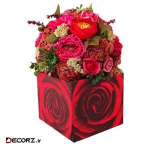 گلدان به همراه گل مصنوعی دکوفلاورز مدل 9003