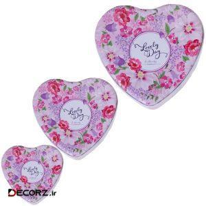 جعبه هدیه مدل قلب طرح لاولی مجموعه 3 عددی