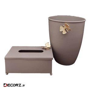 ست سطل و جای دستمال کاغذی مدل پروانه 1370g